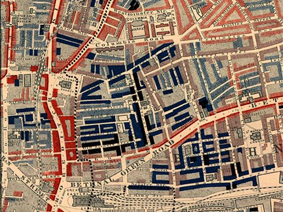 """Poverty map of Old Nichol slum, East End of London, showing Bethnal Green Road, from Charles Booth's Labour and Life of the People. Volume 1: East London (London: Macmillan, 1889). The streets are colored to represent the economic class of the residents: Yellow (""""Upper-middle and Upper classes, Wealthy""""), red (""""Lower middle class - Well-to-do middle class""""), pink (""""Fairly comfortable good ordinary earnings""""), blue (""""Intermittent or casual earnings""""), and black (""""lowest class...occasional labourers, street sellers, loafers, criminals and semi-criminals"""")  by  Charles Booth"""
