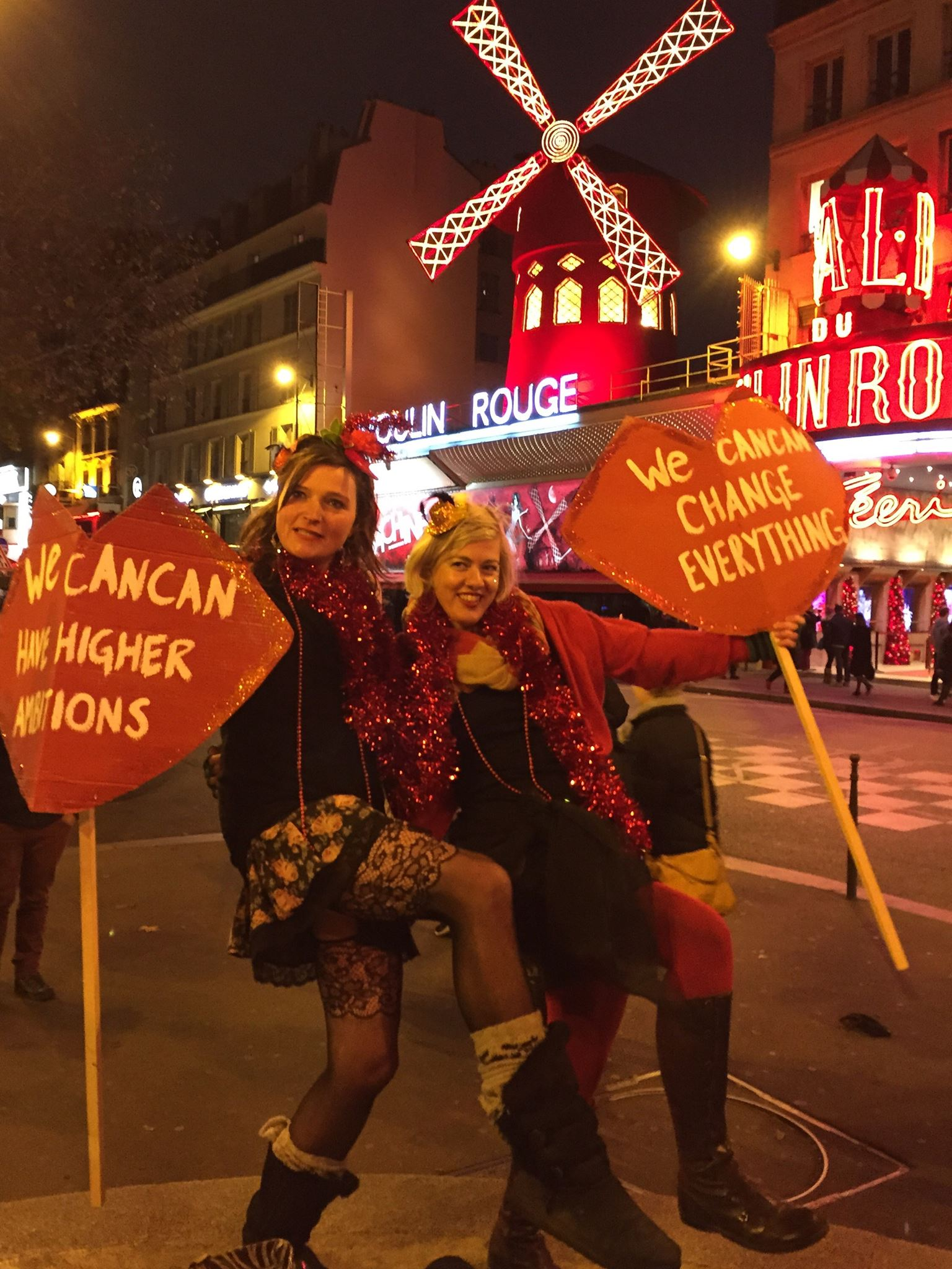 Alex Kelly at the We CanCan action at Moulin Rouge, Paris,during COP21 climate conference, Dec 2015
