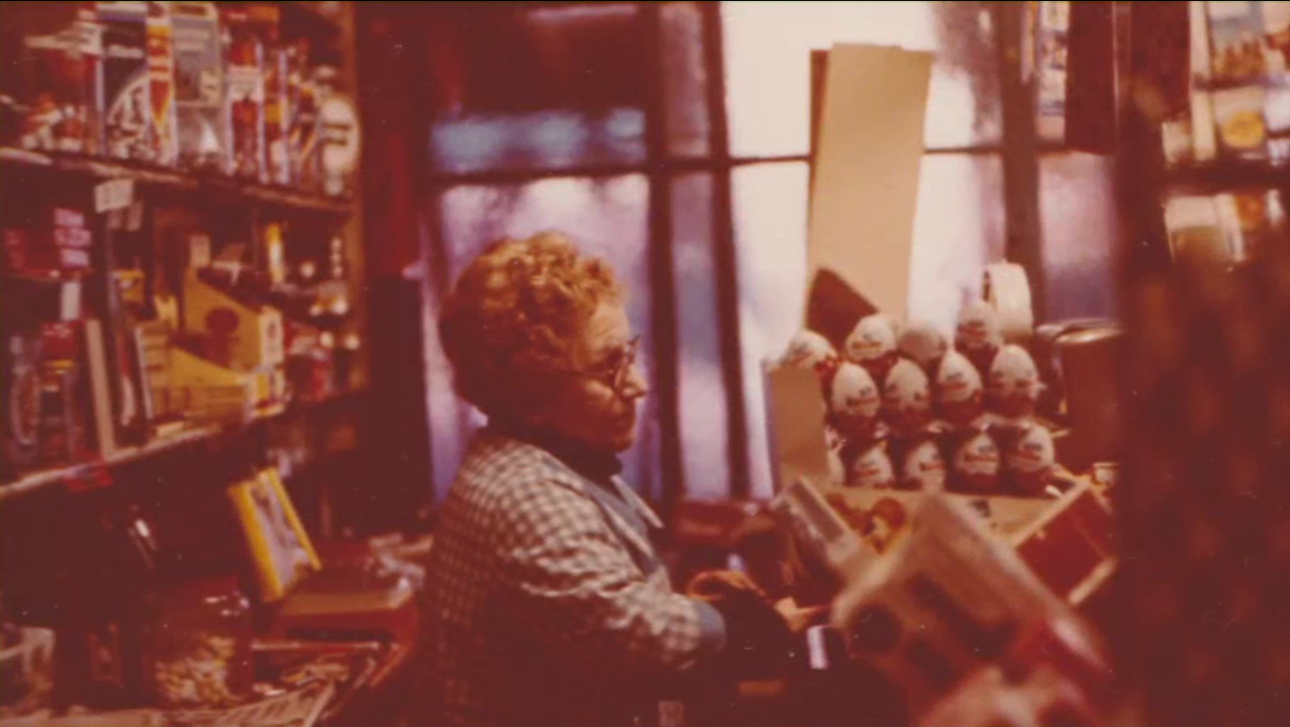 Colin Greer's mom inside the candy store