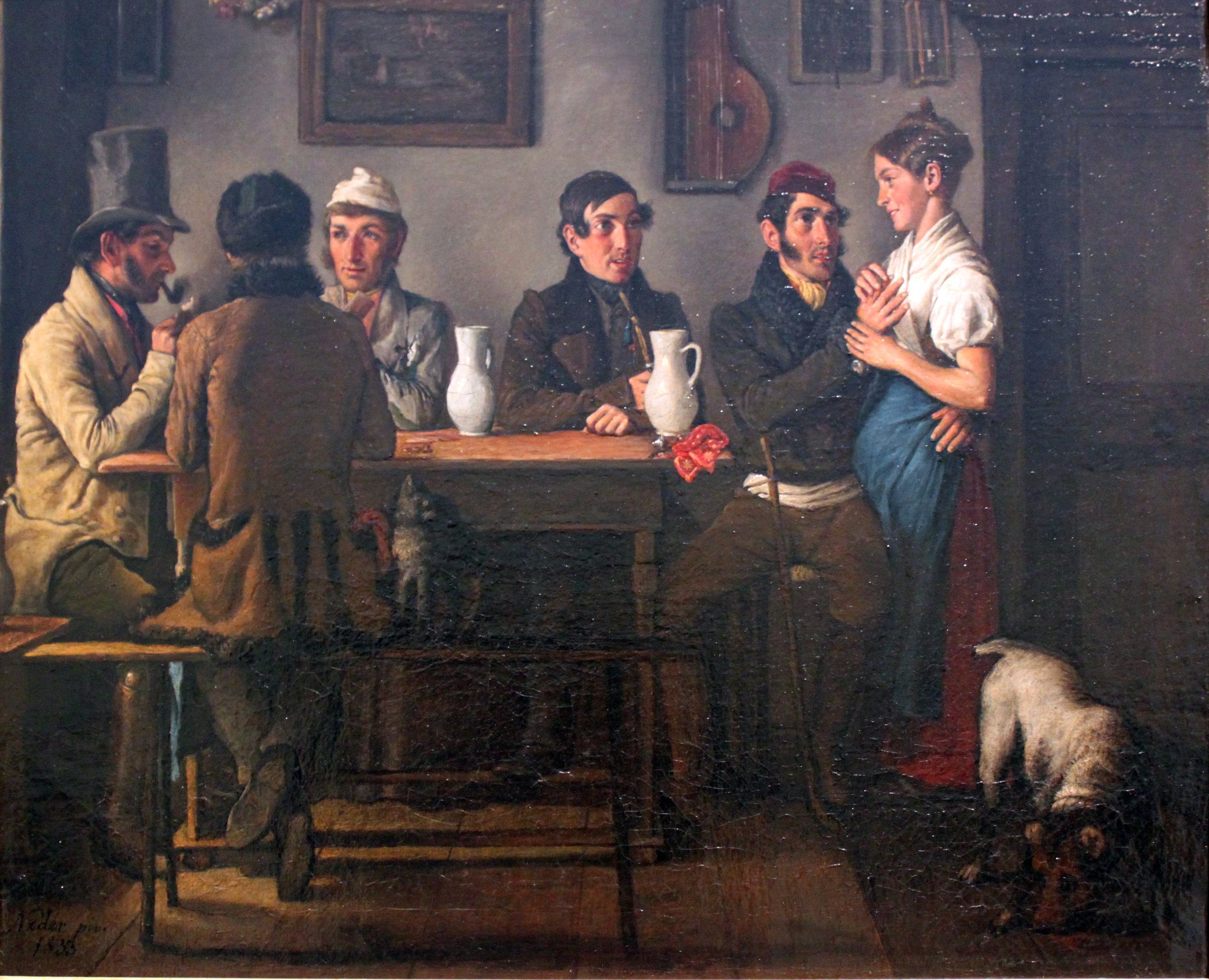 """At the Tavern"" 1833 painting by Johann Michael Neder"