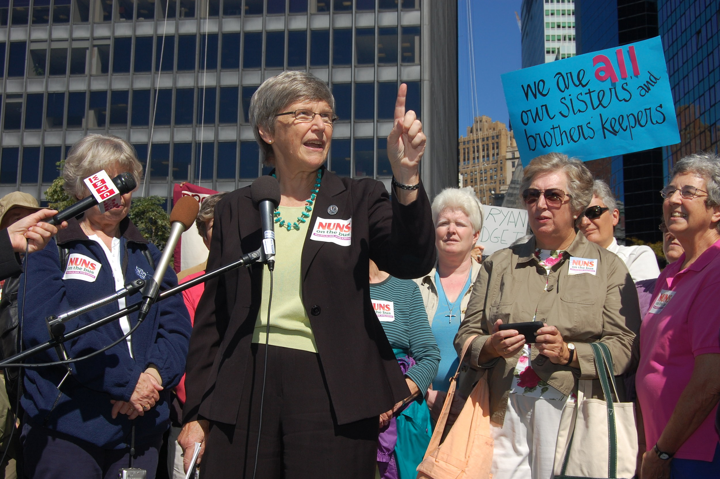 Sister Simone with Communication Workers of America on Nuns on the Bus Tour,  2012