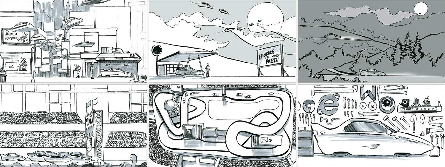 Storyboards for an interactive narrative experience
