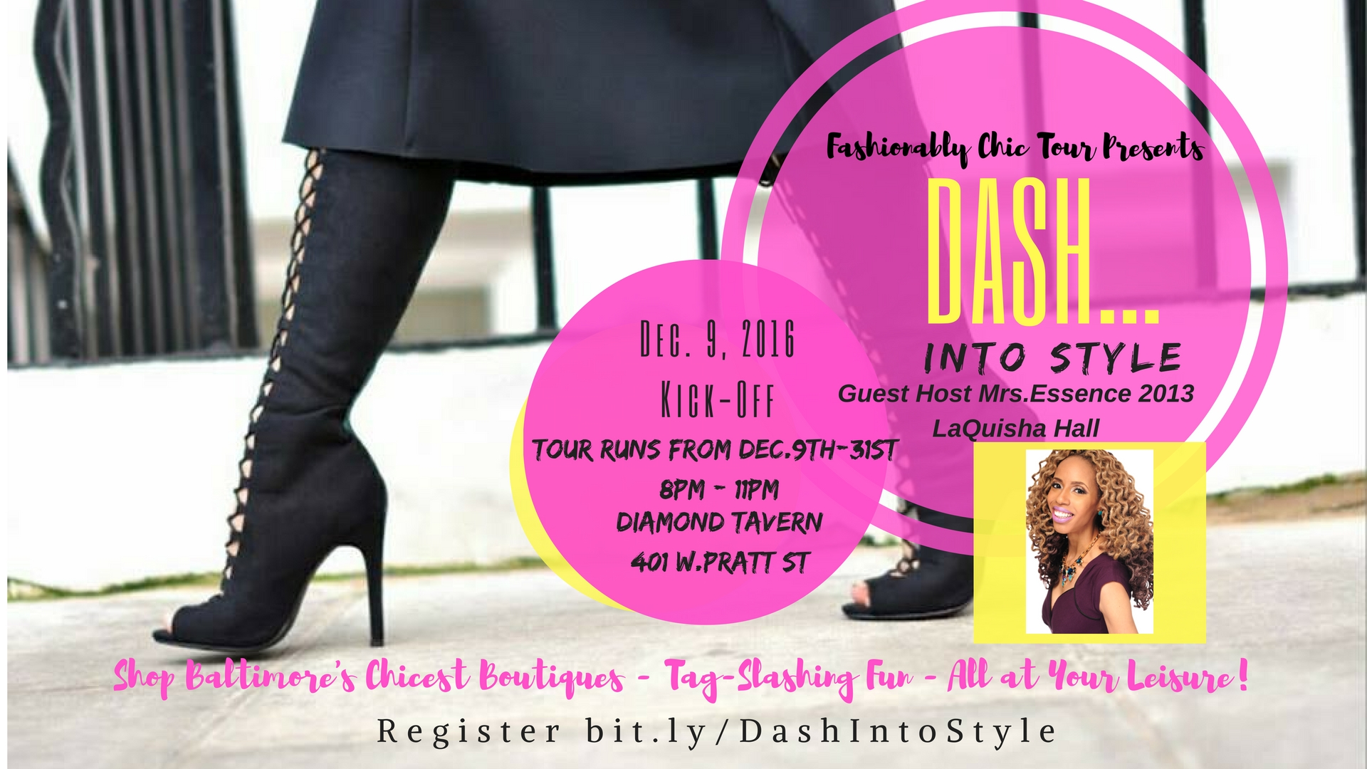 """Dash... Into Style  is hosting a tour kick-off event at The Hiltons' Diamond Tavern. Our style tour guide will showcase fashions and fabulous pieces from a few of the featured boutiques.    We've compiled an amazing collection of our favorite boutiques and luscious eateries in-and-around the Baltimore Metropolitan Area.  Dash...Into Style  tours are designed to give you a taste of unique shopping experiences mounted with the excitement of tag slashing and fun.     Here's how it works:     Baltimore's Fabulous boutiques,1 eatery. It's a taste of Baltimore's chicest boutiques,curated for the fashionable lady in mind, for your girlfriend who's always calling your girls for suggestions to the hottest places to shop, and for the woman who's body conscious and wants to re-define her style! You will be given a sneak peek from the boutique owners as to what to expect during the tour. We will have parking pointers as you dash in & out of the boutiques. It's shopping at your leisure and the tour starts Dec.9th, 2016 and ends Dec. 31st, 2016! That's 4 weeks of fabulous shopping...and you may say """"I can do this on my own! But,at Fashionably Chic Tour,we don't do boring dahling! It's your ultimate shopping experience!      Each week there will be noteworthy giveaways for the guest who completes their Boutique Stamp Card          Please come in your fashionably forward attire!"""