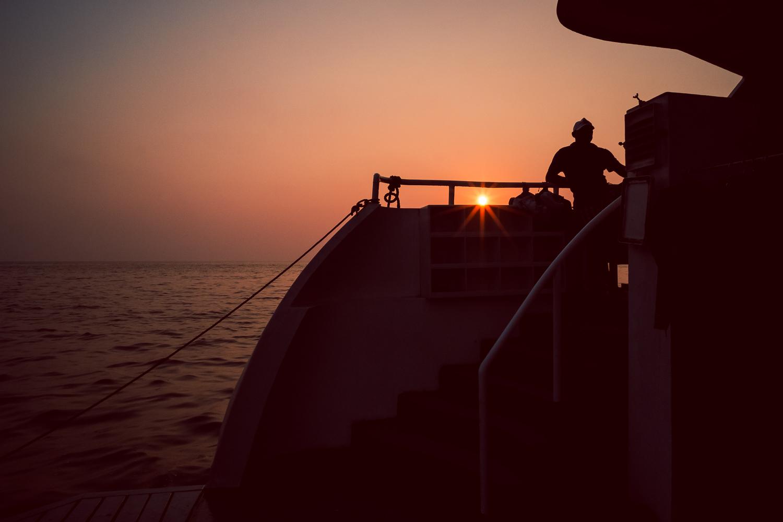 Sunset at Narcandom Island abourd the M.V. Infiniti