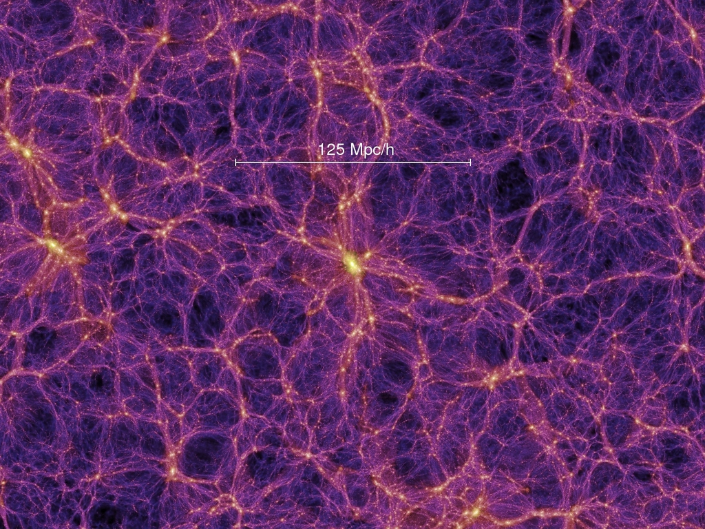 Numerical simulation of the density of matter when the universe was 4.7 billion years old. Galaxy formation follows the gravitational wells produced by dark matter, where hydrogen gas coalesces, and the first stars ignite. Image credit: V. Springel et al. 2005, Nature, 435, 629