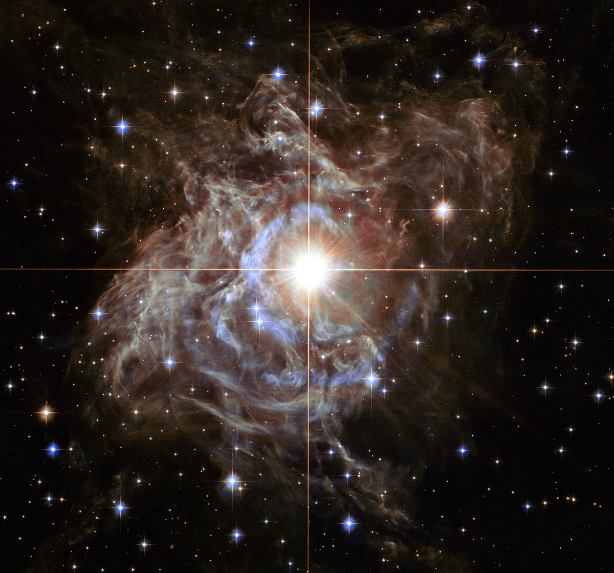 RS Puppis rhythmically brightens and dims over a six-week cycle. It is one of the most luminous in the class of so-called Cepheid variable stars. Its average intrinsic brightness is 15,000 times greater than our Sun's luminosity. Image Credit: NASA, ESA, and the Hubble Heritage Team (STScI/AURA)-Hubble/Europe Collaboration