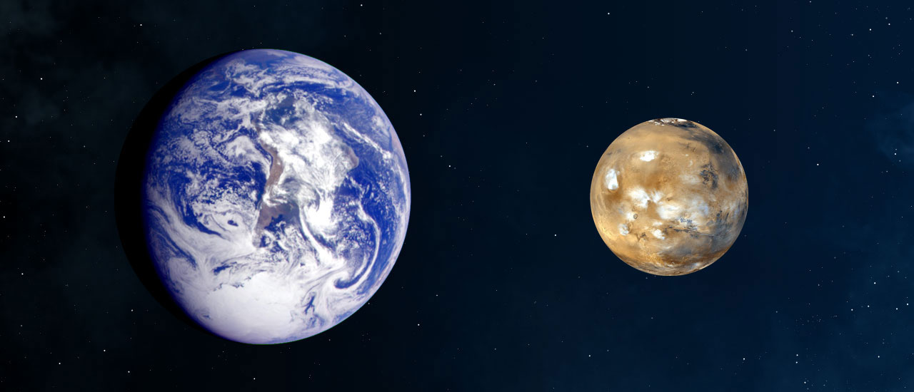 A comparison of the sizes of Earth and Mars. Image credit: NASA