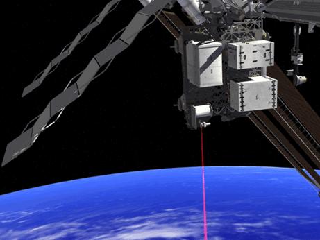 Artist's illustration of OPALS instrument firing a laser. Image credit: NASA/JPL
