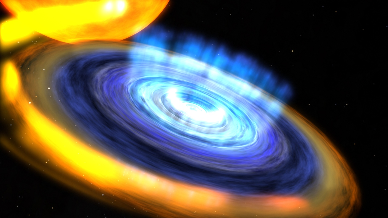 Artist's rendering showing the black hole and its accretion disk with a disk wind fully established. Image credit: NASA/Goddard Space Flight Center/CI Lab