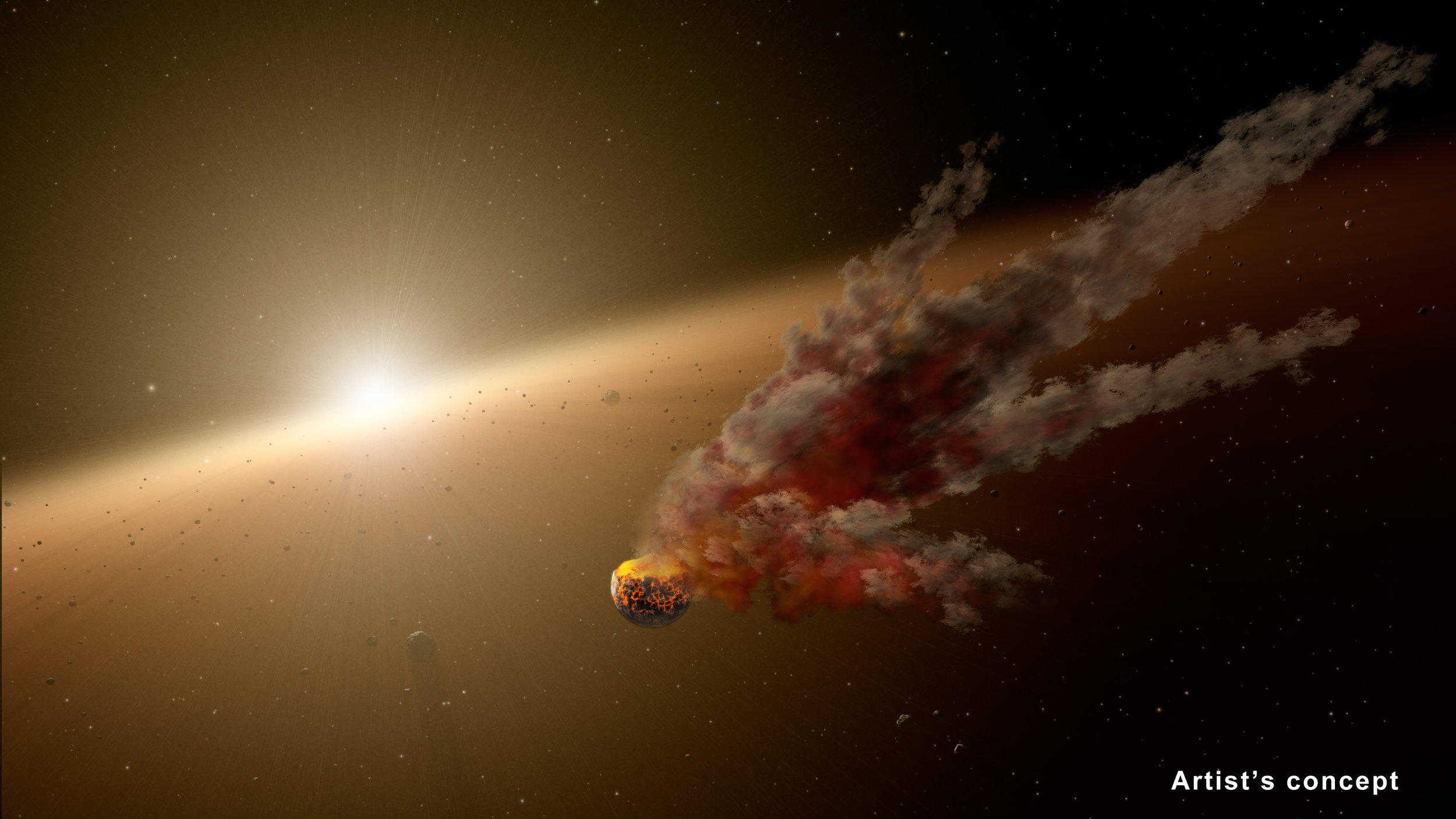 """Planets, including those like our own Earth, form from epic collisions between asteroids and even bigger bodies, called proto-planets. Sometimes the colliding bodies are ground to dust, and sometimes they stick together to ultimately form larger, mature planets. This artist's conception shows one such smash-up, the evidence for which was collected by NASA's Spitzer Space Telescope. Spitzer's infrared vision detected a huge eruption around the star NGC 2547-ID8 between August 2012 and 2013. Scientists think the dust was kicked up by a massive collision between two large asteroids. They say the smashup took place in the star's """"terrestrial zone,"""" the region around stars where rocky planets like Earth take shape. Image credit: NASA/JPL-Caltech"""