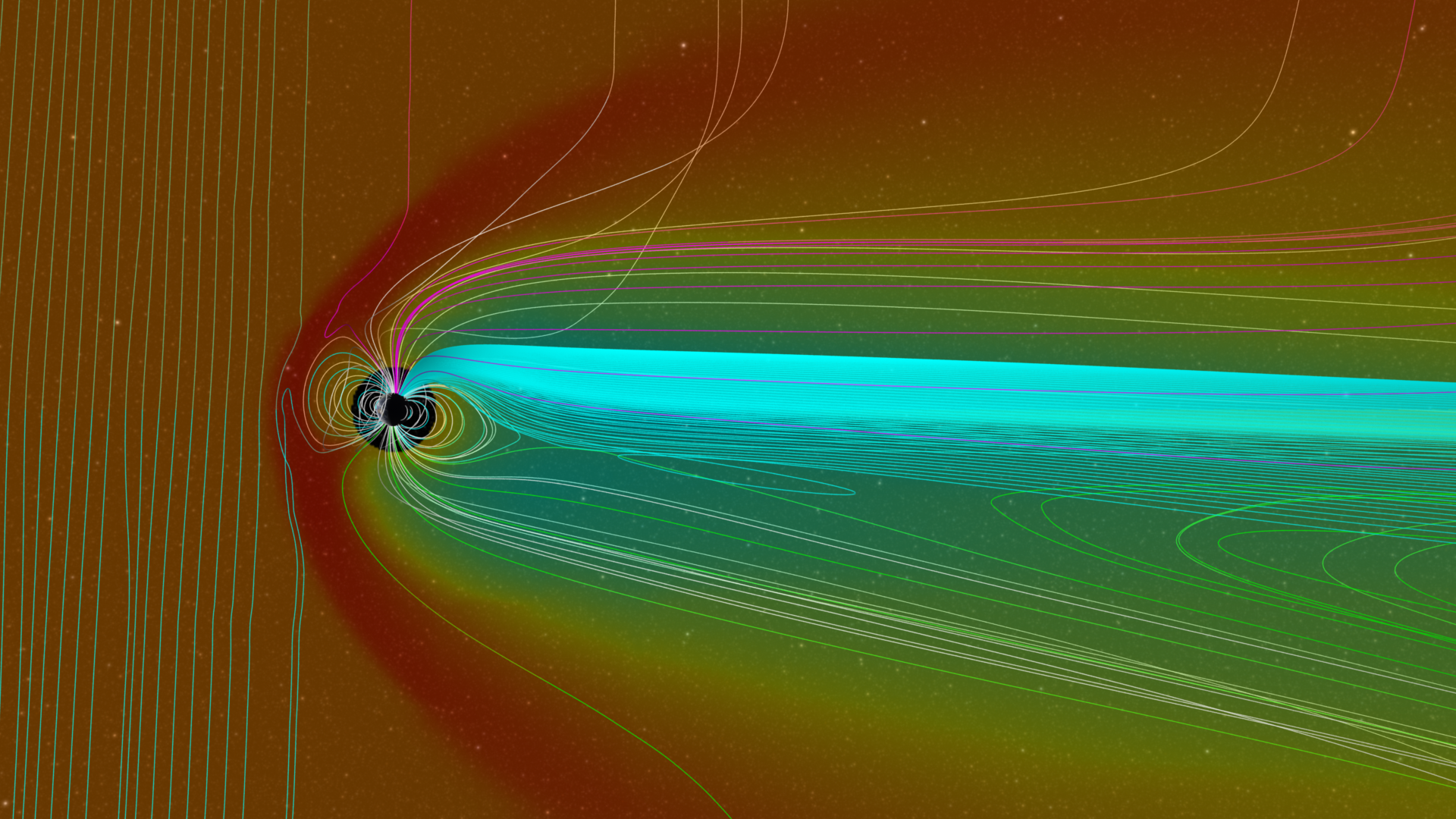 A profile view of the magnetic field and density data during a solar outburst. Image Credit: NASA's Scientific Visualization Studio, the Space Weather Research Center (SWRC), the Community-Coordinated Modeling Center (CCMC) and the Space Weather Modeling Framework (SWMF).