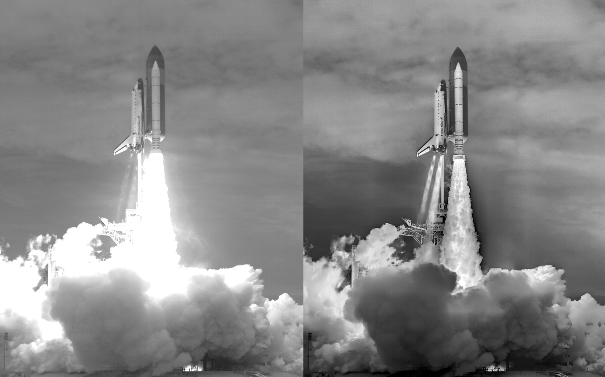 Six images that went into a final composite image for the launch of STS-135. The Space Shuttle's engine jets are primarily visible in the image taken by a thermal infrared camera. A side-by-side comparison showing a one-camera view of the launch (left) with the six-camera composited view (right). Image credit: NASA / Louise Walker / J.T. Heineck