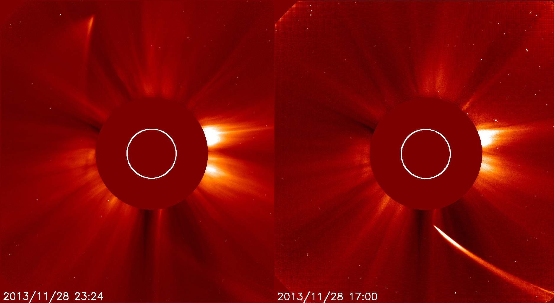 Comet ISON on its approach to the sun (right) and after its close pass (left). ISON was effectively destroyed in this passage. Image Credit: NASA, SOHO