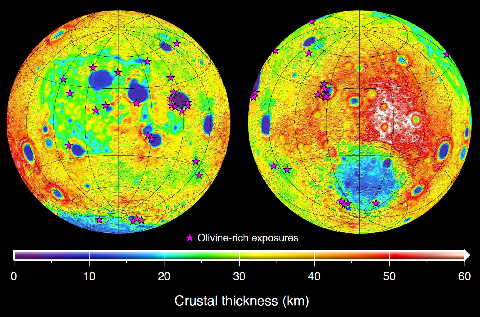 This graphic depicting the bulk density of the lunar highlands on the near and far sides of the moon was generated using gravity data from NASA's GRAIL mission and topography data from NASA's Lunar Reconnaissance Orbiter. This graphic depicting the bulk density of the lunar highlands on the near and far sides of the moon was generated using gravity data from NASA's GRAIL mission and topography data from NASA's Lunar Reconnaissance Orbiter. Red corresponds to higher than average densities and blue corresponds to lower than average densities. The average bulk density of the lunar highlands crust is 2,550 kilograms per meter cubed, which is 12 percent lower than generally assumed. White denotes regions that contain mare basalts (thin lines) and that were not analyzed. Solid circles correspond to prominent impact basins. The largest basin on the moon's far side hemisphere, the South Pole-Aitken basin, has a higher than average density that reflects its atypical iron-rich surface composition. Image credit: NASA/JPL-Caltech/IPGP