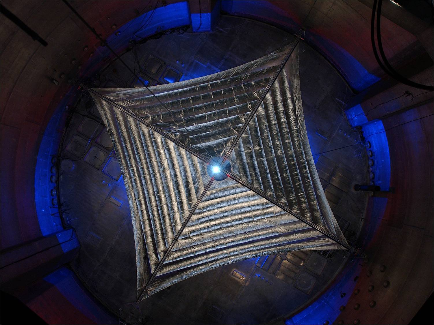 This is a picture of the Sunjammer solar sail being tested, before the project was canceled. Image Credit: NASA/L'Garde
