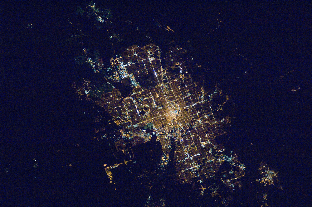Denver, Colorado, USA, exhibiting the street grid typical of large cities in the southwestern USA. Image Credit: NASA/ISS
