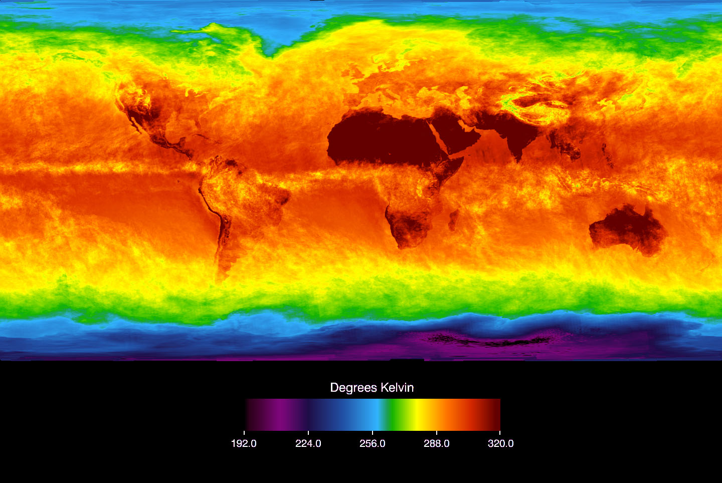 The Atmospheric Infrared Sounder (AIRS) instrument aboard NASA's Aqua satellite senses temperature using infrared wavelengths. This image shows temperature of the Earth's surface or clouds covering it for the month of April 2003. The scale ranges from -81 degrees Celsius (-114° Fahrenheit) in black/blue to 47° C (116° F) in red. The Intertropical Convergence Zone, an equatorial region of persistent thunderstorms and high, cold clouds is depicted in yellow. Higher latitudes are increasingly obscured by clouds, though some features like the Great Lakes are apparent. Northernmost Europe and Eurasia are completely obscured by clouds, while Antarctica stands out cold and clear at the bottom of the image. Image courtesy AIRS Science Team, NASA/JPL