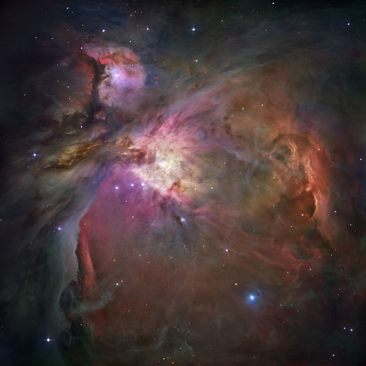 This dramatic image offers a peek inside a cavern of roiling dust and gas where thousands of stars are forming. The image, taken by the Advanced Camera for Surveys (ACS) aboard NASA/ESA Hubble Space Telescope, represents the sharpest view ever taken of this region, called the Orion Nebula. Image Credit: NASA, ESA, M. Robberto ( Space Telescope Science Institute/ESA) and the Hubble Space Telescope Orion Treasury Project Team