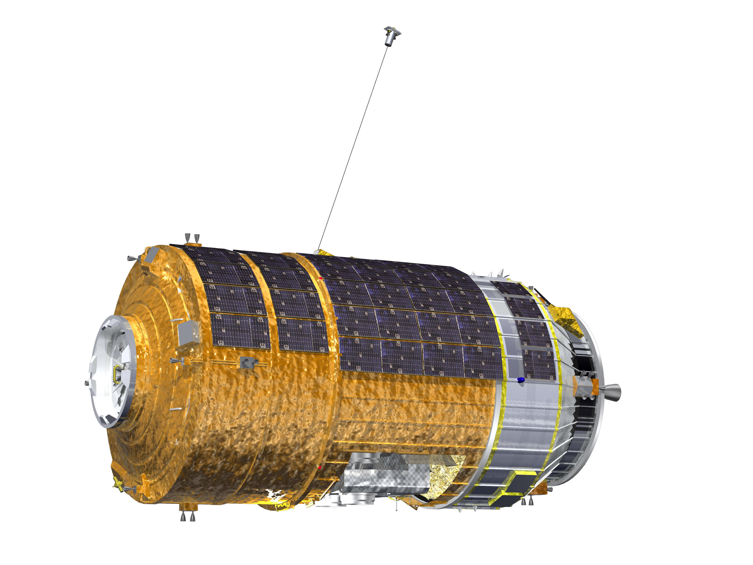 H-II Transfer Vehicle 6 (KOUNOTORI 6) during the Kounotori Integrated Tether Experiment (KITE) (CG Image). Image copyright JAXA, media use.