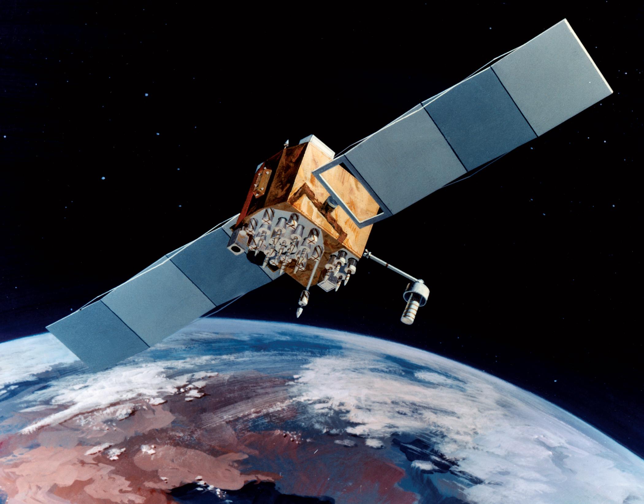 Navstar-2F satellite of the Global Positioning System (GPS). Image credit: USAF.
