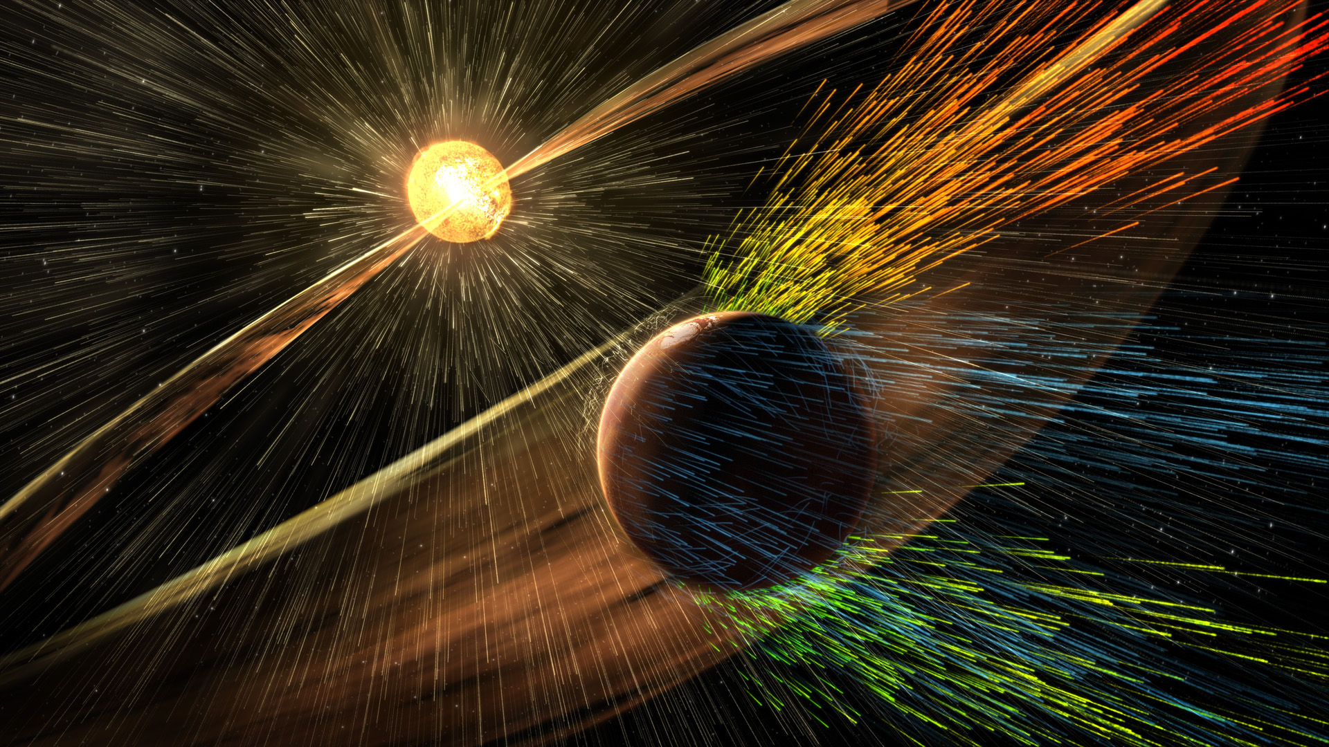 A NASA mission reveals how gases in Mars' upper atmosphere are stripped away by the sun's solar wind. Image credit: NASA's Scientific Visualization Studio and the MAVEN Science Team