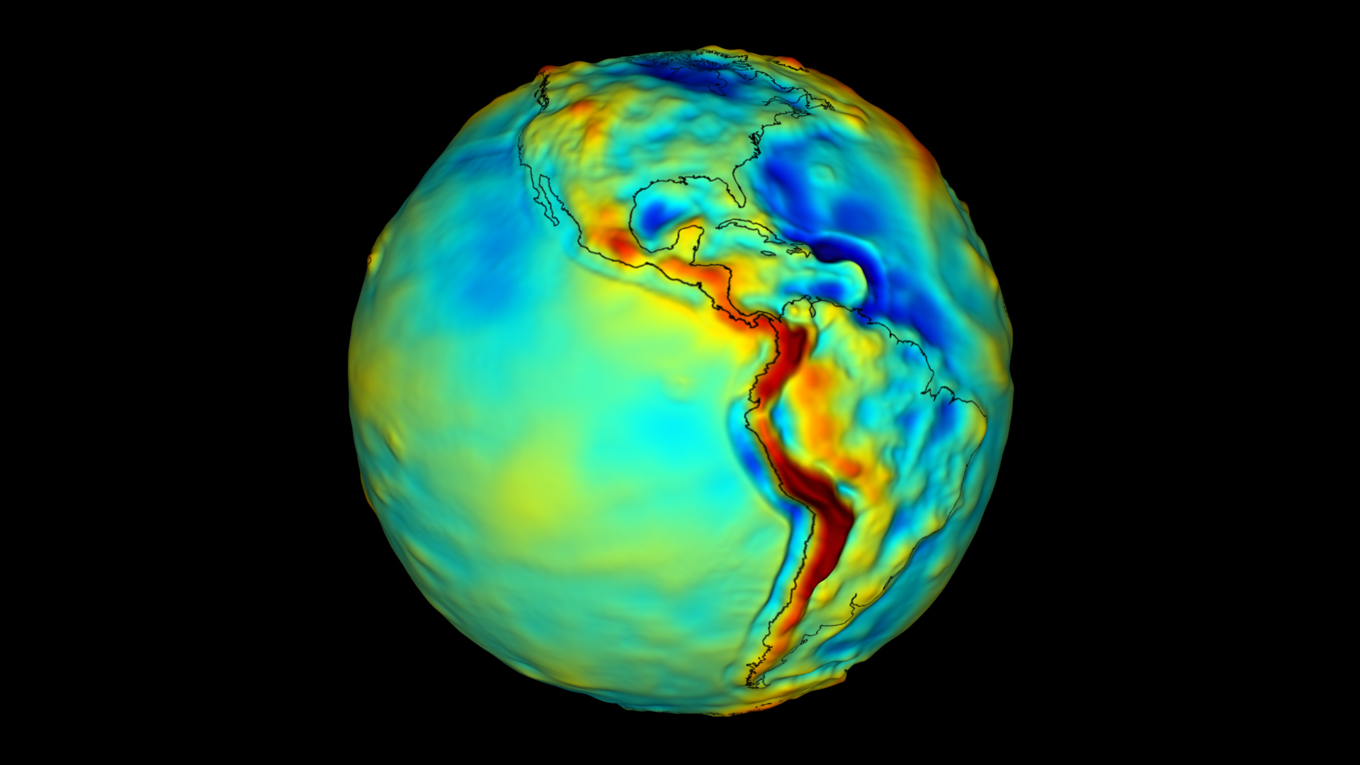Satellite measurements offer scientists a new view of our planet. Warm colors (red, orange, yellow) represent areas with strong gravity. Cool colors (green, blue) represent areas with weak gravity. Image credit: NASA's Goddard Space Flight Center