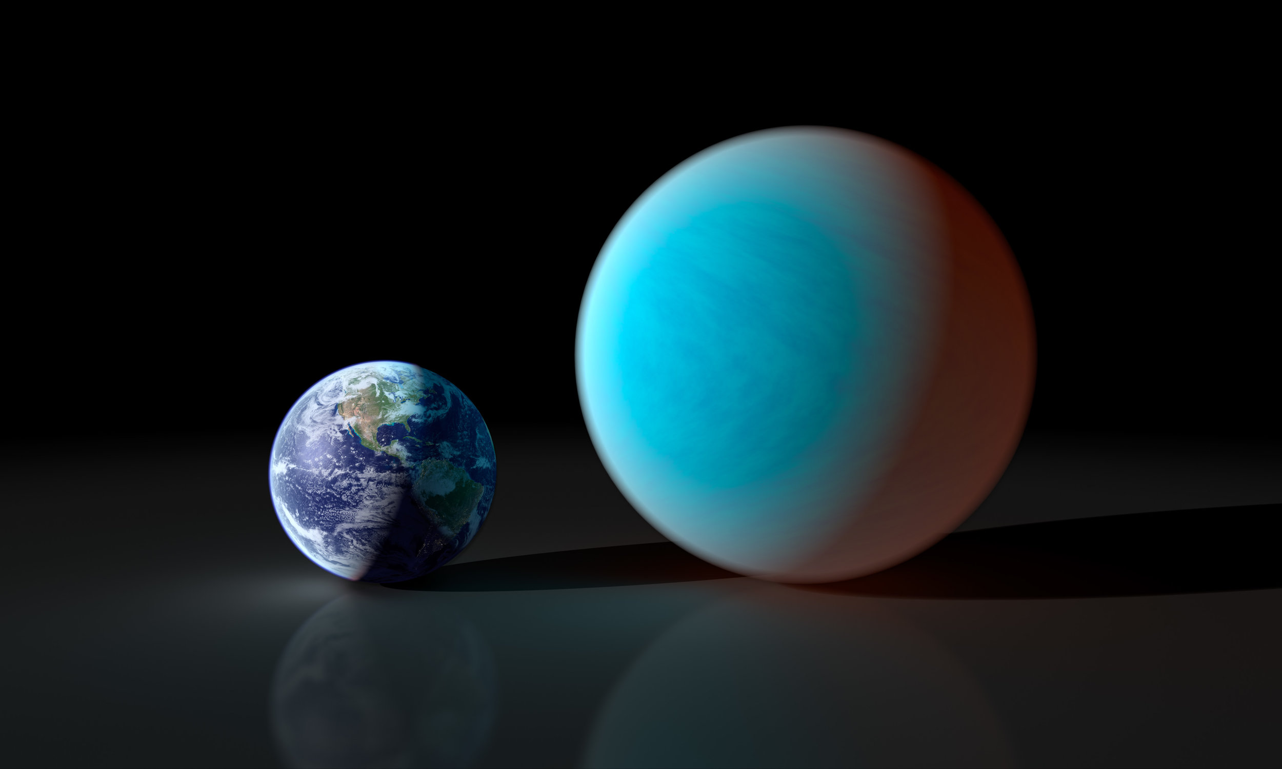 "This artists concept contrasts our familiar Earth with the exceptionally strange planet known as 55 Cancri e. While it is only about twice the size of the Earth, NASA's Spitzer Space Telescope has gathered surprising new details about this supersized and superheated world. New observations with Spitzer reveal 55 Cancri e to have a mass 7.8 times and a radius just over twice that of Earth. Those properties place 55 Cancri e in the ""super-Earth"" class of exoplanets, a few dozen of which have been found. Image credit: NASA/JPL-Caltech/R. Hurt (SSC)"