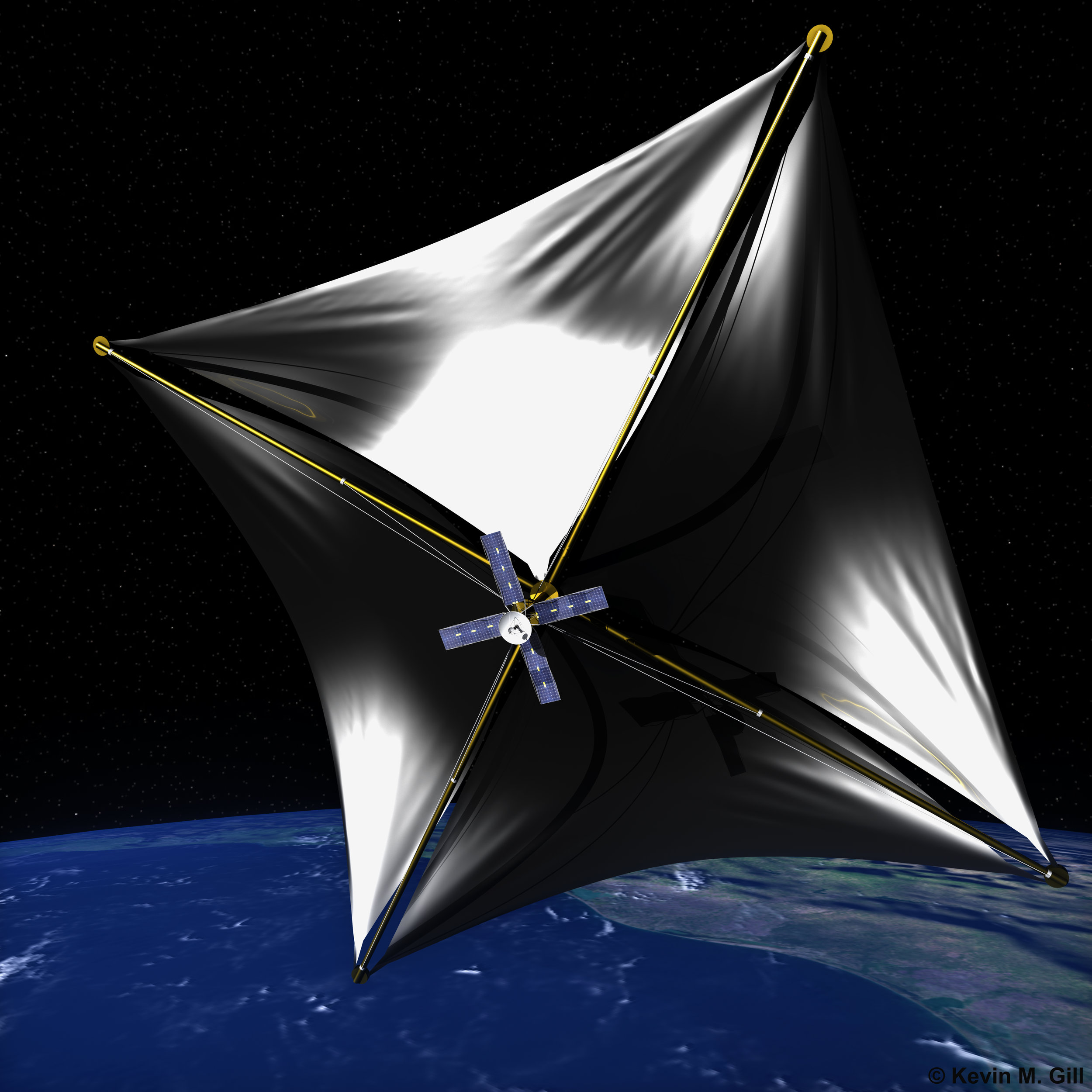 Artist's impression of a solar sail beginning its journey, accelerated (slowly) by the solar winds. Image credit: Kevin Gill, CC A-SA 2.0
