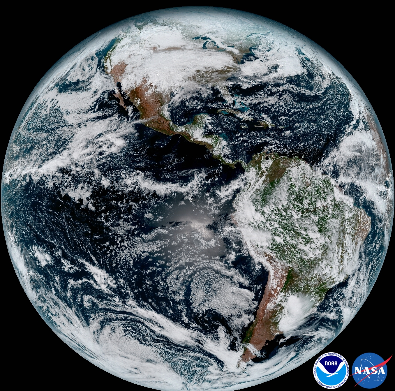 The release of the first images from NOAA's newest satellite, GOES-16, is the latest step in a new age of weather satellites. This composite color full-disk visible image is from 1:07 p.m. EDT on Jan. 15, 2017, and was created using several of the 16 spectral channels available on the GOES-16 Advanced Baseline Imager (ABI) instrument. The image shows North and South America and the surrounding oceans. GOES-16 observes Earth from an equatorial view approximately 22,300 miles high, creating full disk images like these, extending from the coast of West Africa, to Guam, and everything in between. Image Credit: NOAA/NASA