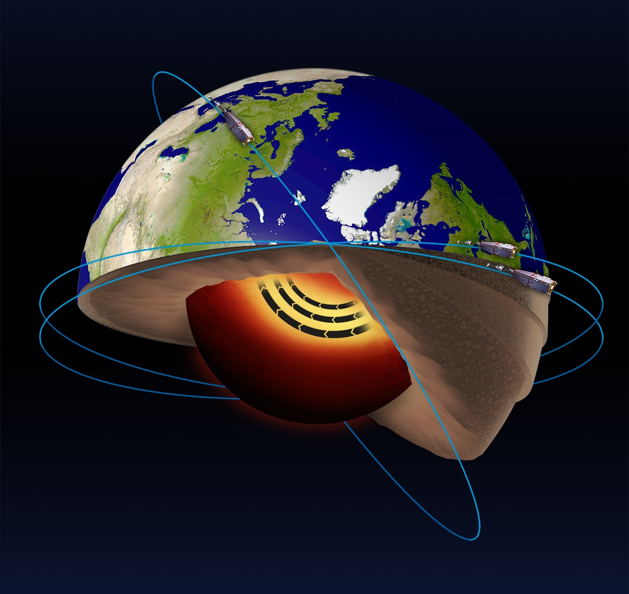 ESA's Swarm satellites have led the discovery of a jet stream in the liquid iron part of Earth's core 3000 km beneath the surface. In addition, Swarm satellite data show that this jet stream is speeding up. Launched in 2013, the Swarm trio is dedicated to identifying and measuring precisely the different magnetic signals that make up Earth's magnetic field. Image credit: ESA CC BY-SA 3.0 IGO