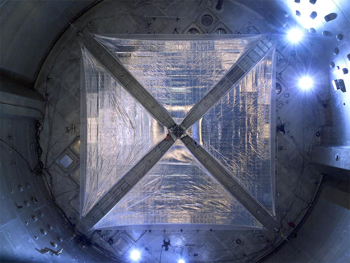 This image is of a four-quadrant solar sail system, measuring 66 feet on each side that was tested in 2005 in the world's largest vacuum chamber at NASA's Glenn Research Center at Plum Brook Station in Sandusky, Ohio. Image Credit: NASA