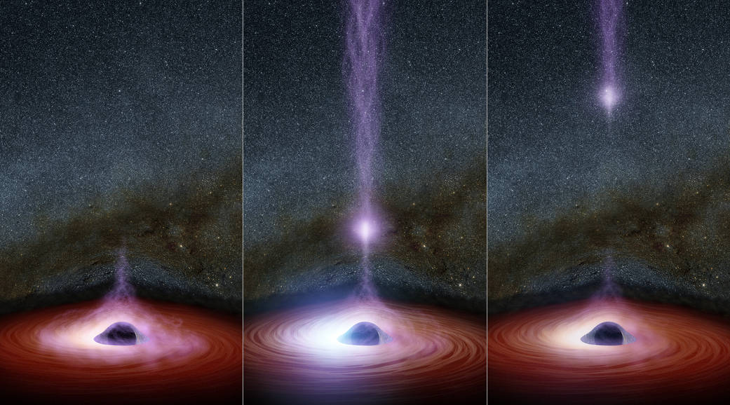 This diagram shows how a shifting feature, called a corona, can create a flare of X-rays around a black hole. The corona (feature represented in purplish colors) gathers inward (left), becoming brighter, before shooting away from the black hole (middle and right). Image Credit: NASA/JPL-Caltech