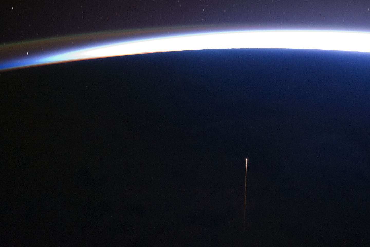 This astronaut photograph highlights the reentry plasma trail of a deorbiting spacecraft, the ISS Progress 42P supply vehicle (Russian designation M-10M). Acquired October 29, 2011. Image Credit: NASA