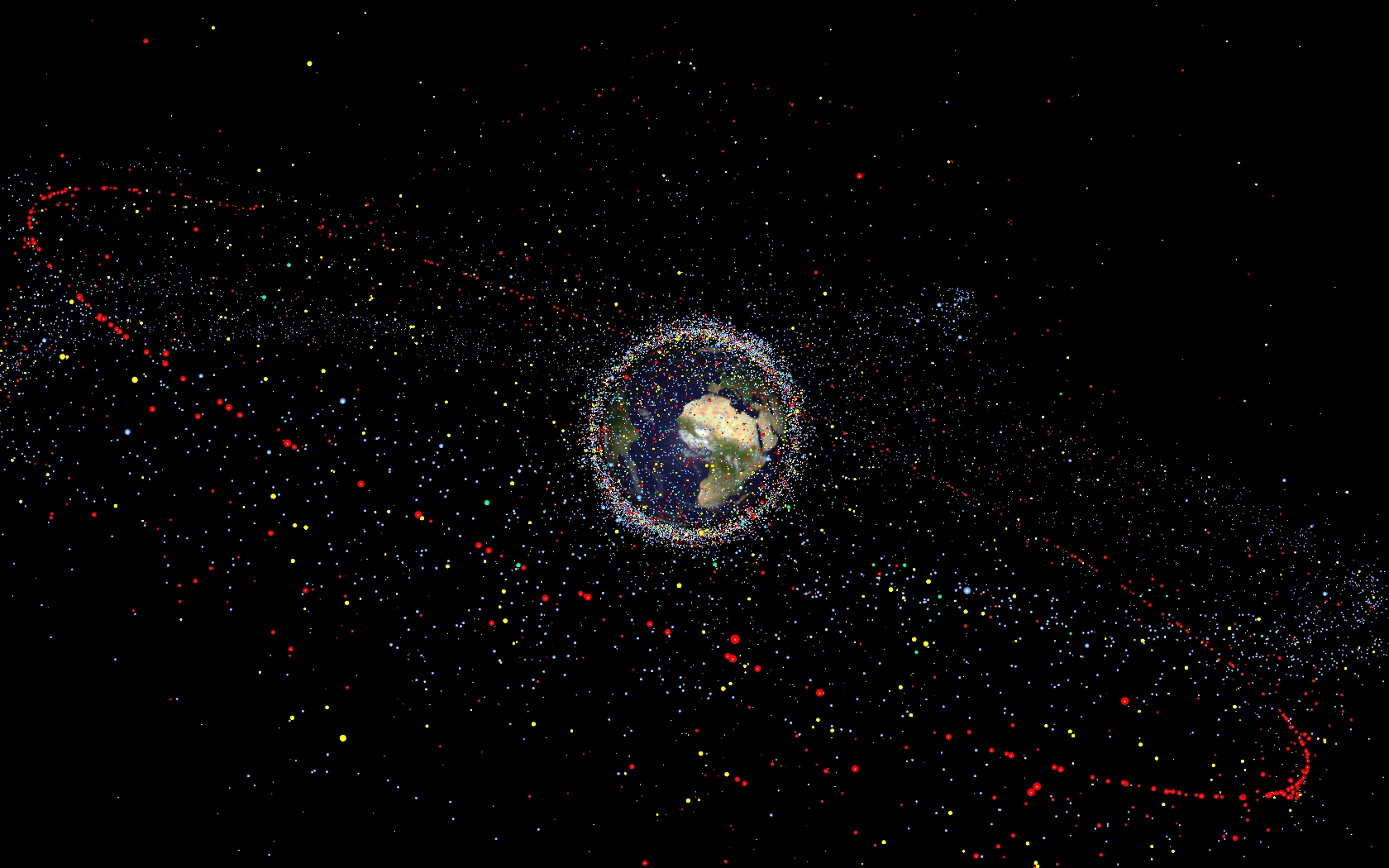 All human-made space objects result from the near-5000 launches since the start of the space age. About 65% of the catalogued objects, however, originate from break-ups in orbit – more than 240 explosions – as well as fewer than 10 known collisions. Scientists estimate the total number of space debris objects in orbit to be around 29 000 for sizes larger than 10 cm, 670 000 larger than 1 cm, and more than 170 million larger than 1 mm. Image credit: ESA