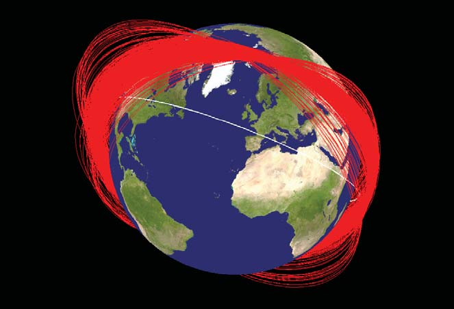 Known orbit planes of Fengyun-1C debris one month after its disintegration by a Chinese interceptor. The white orbit represents the International Space Station. Image Credit: NASA
