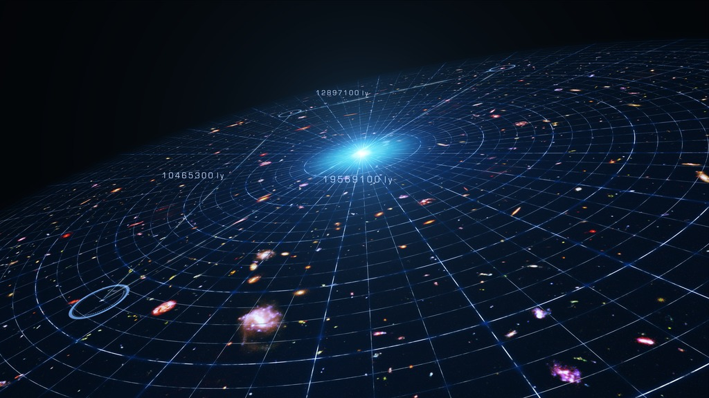 Still from an animation illustrating the accelerating expansion of the universe due to dark energy. Image credit: NASA's Goddard Space Flight Center Conceptual Image Lab