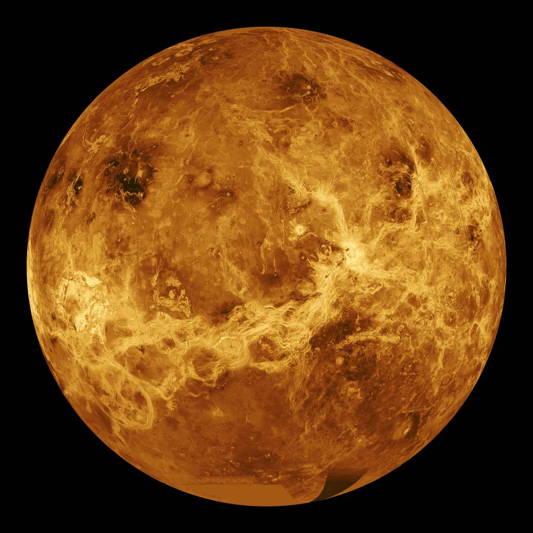 This global view of the surface of Venus is centered at 180 degrees east longitude. Magellan synthetic aperture radar mosaics from the first cycle of Magellan mapping are mapped onto a computer-simulated globe to create this image. Image credit: NASA/JPL