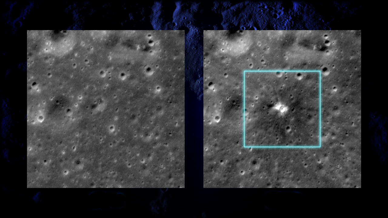 Before and after images taken by LRO show the location of a new 60-foot in diameter crater (right) that formed on March 17, 2013. Image credit: NASA's Goddard Space Flight Center