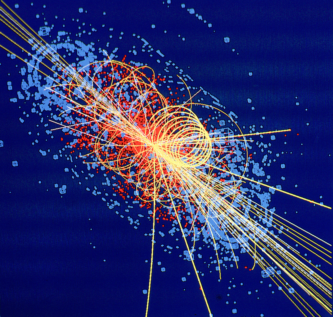 This track is an example of simulated data modelled for the CMS detector on the Large Hadron Collider (LHC) at CERN, which will begin taking data in 2008. The Higgs boson is produced in the collision of two protons at 14 TeV and quickly decays into four muons, a type of heavy electron which is not absorbed by the detector. The tracks of the other products of the collision are shown by lines and the energy deposited in the detector is shown in blue. Image credit: Lucas Taylor/CERN (License: CC-BY-SA-4.0)