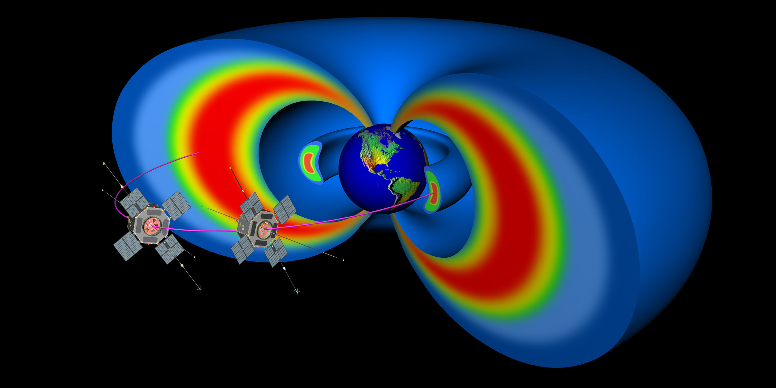 NASA's Van Allen Probes orbit through two giant radiation belts that surround Earth. Their observations help improve computer simulations of events in the belts that can affect technology in space. Image credit:JHU/APL, NASA
