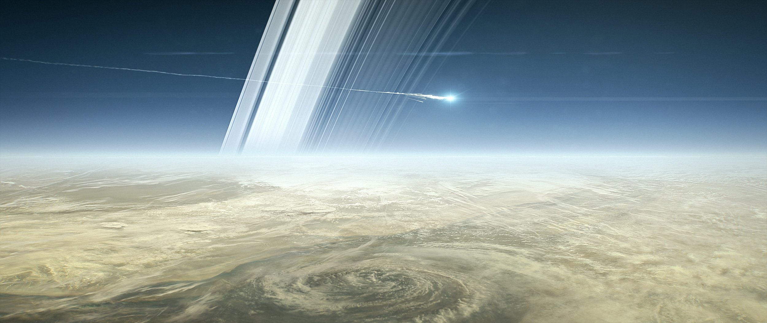 In this screenshot from the short animated film Cassini's Grand Finale, the spacecraft is shown breaking apart after entering Saturn's atmosphere. The planned end of Cassini will occur on Sept. 15, 2017. Image credit: NASA/JPL-Caltech