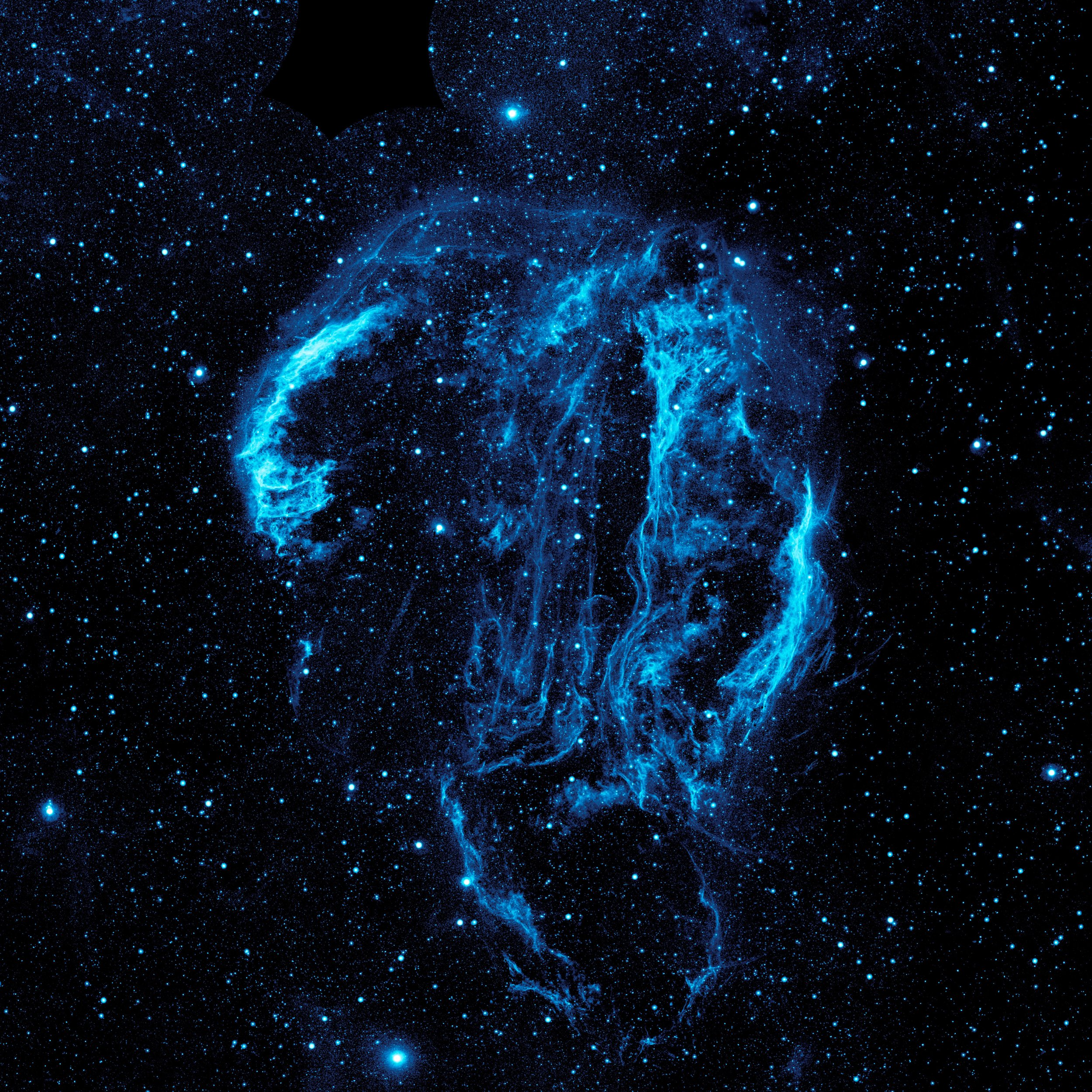 Wispy tendrils of hot dust and gas glow brightly in this ultraviolet image of the Cygnus Loop Nebula, taken by NASA's Galaxy Evolution Explorer. The nebula lies about 1,500 light-years away, and is a supernova remnant, left over from a massive stellar explosion that occurred 5,000-8,000 years ago. Image credit:  NASA/JPL-Caltech