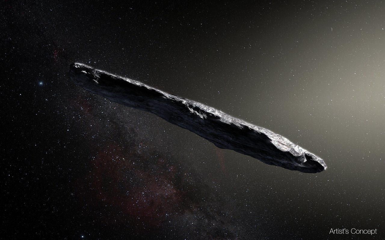 This artist's impression shows the first interstellar asteroid: `Oumuamua. This unique object was discovered on 19 October 2017 by the Pan-STARRS 1 telescope in Hawai`i. Subsequent observations from ESO's Very Large Telescope in Chile and other observatories around the world show that it was traveling through space for millions of years before its chance encounter with our star system. Image credit: European Southern Observatory/M. Kornmesser