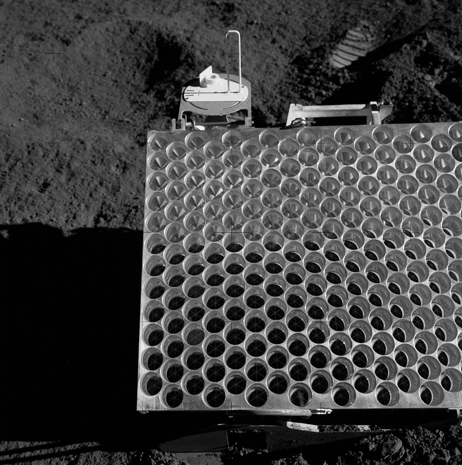 A portion of the Apollo 15 lunar laser ranging retroreflector array, as placed on the Moon and photographed by D. Scott.  Credit: NASA/D. Scott