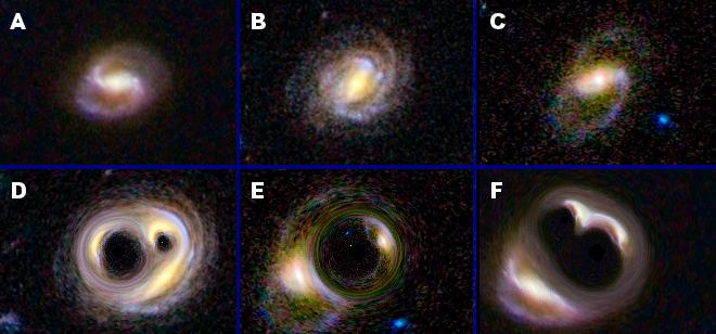 Can you match each galaxy in the top row with its warped counterpart in the bottom row? Such galaxy warping occurs naturally in nature in a phenomenon called strong gravitational lensing. The gravity of matter in front of a more distant galaxy, either dark or normal matter, bends and twists the galaxy's light, resulting in wacky shapes and sometimes multiple versions of the same galaxy.  Image credit: NASA/JPL-Caltech/UCL