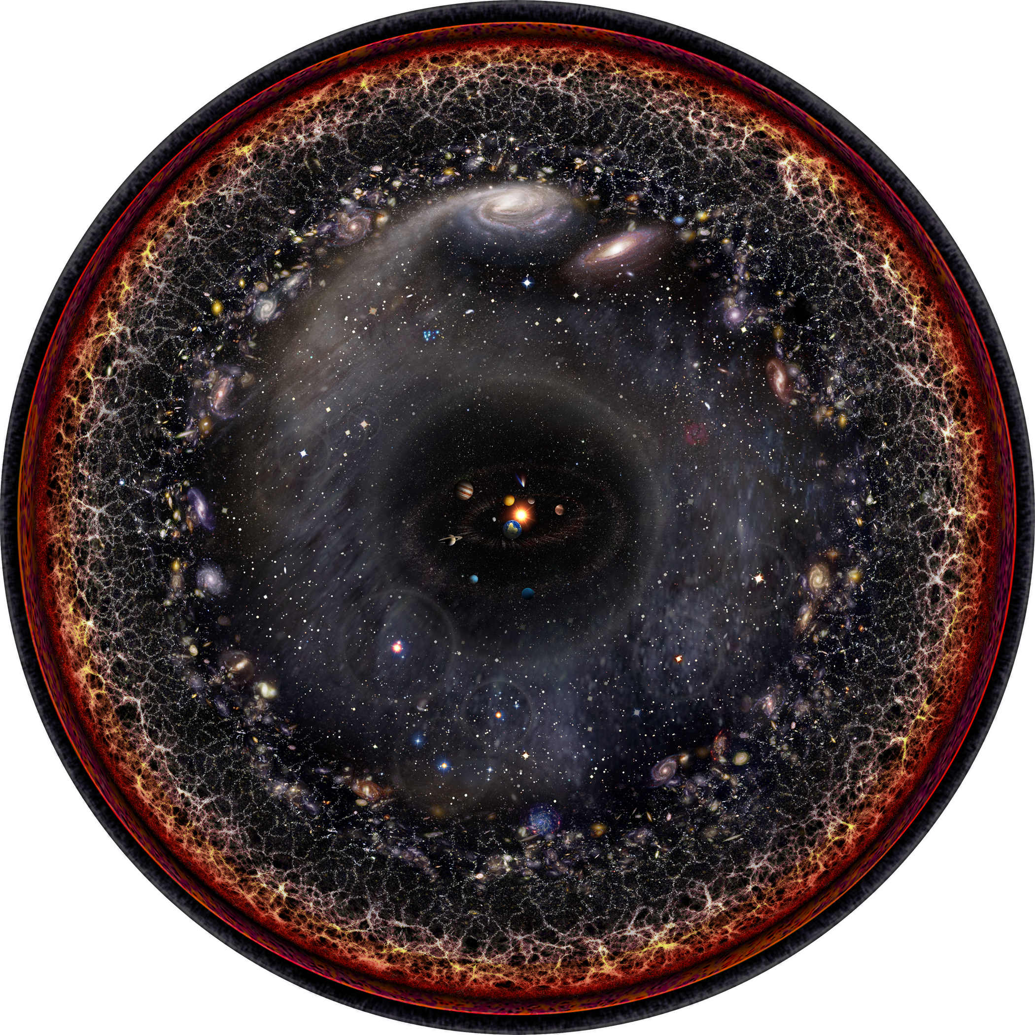 Artist's logarithmic scale conception of the observable universe with the Solar System at the center, inner and outer planets, Kuiper belt, Oort cloud, Alpha Centauri, Perseus Arm, Milky Way galaxy, Andromeda galaxy, nearby galaxies, Cosmic Web, Cosmic microwave radiation and Big Bang's invisible plasma on the edge.  Image credit: Pablo Carlos Budassi