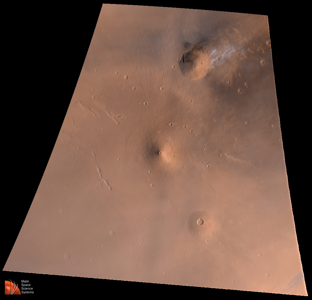 Volcanic Region, Mars Elysium Volcanic Region View, By Mars Global Surveyor's Camera (Note Bright Clouds). Image credit: NASA.