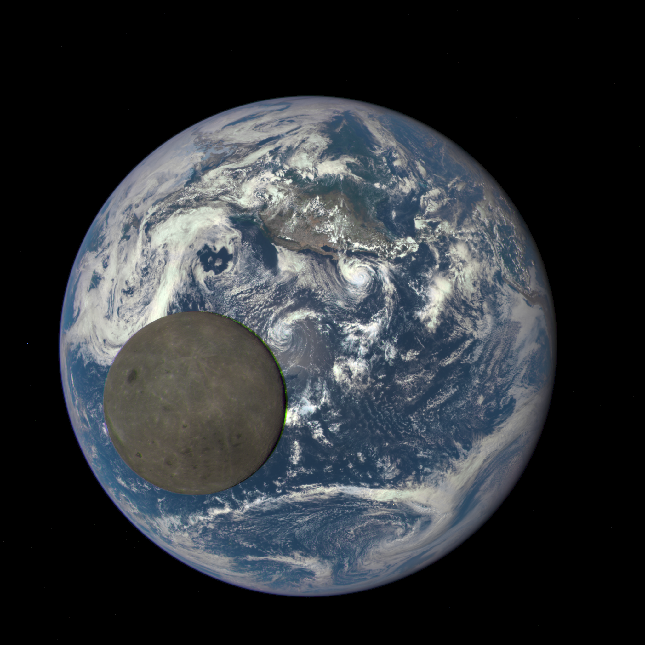 The fully illuminated far side of the Moon, as seen by the DSCOVR spacecraft's EPIC camera. From the Earth, this would be a New Moon. Image credit: NASA