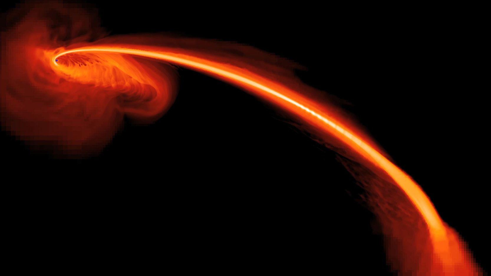 This computer-simulated image shows gas from a star that is ripped apart by tidal forces as it falls into a black hole. Some of the gas also is being ejected at high speeds into space. Image credit: Image Credit:    NASA, S. Gezari (The Johns Hopkins University), and J. Guillochon (University of California, Santa Cruz)