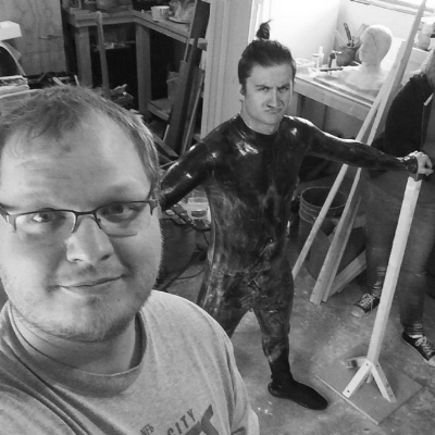 MAKE UP ARTIST/PRODUCER  JAKE JACKSON  (left) WITH LEAD ACTOR  OWEN LAWLESS  (right) - CONSTRUCTING A FULL-BODY CAST
